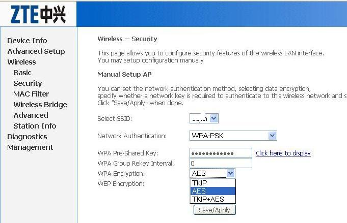 WiFi configuration and security settings of ZTE-ZXDSL-531 ADSL Modem