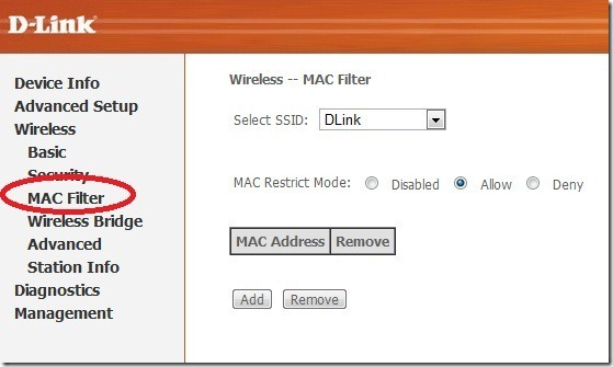 mac filter thumb WiFi Configuration and Security Settings of D Link DSL 2730 U WiFi Modem