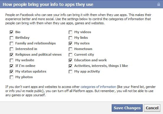 reduce the information to facebook apps