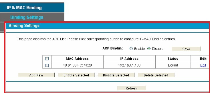 mac binding