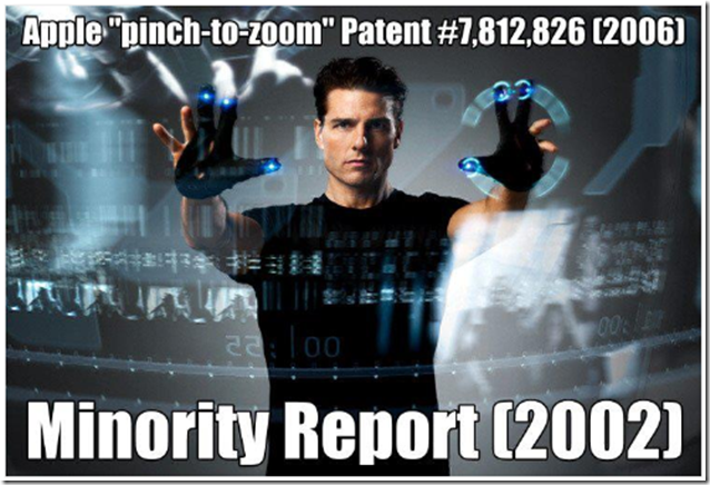Pinch to Zoom Apple Patent is after Minority Report meme