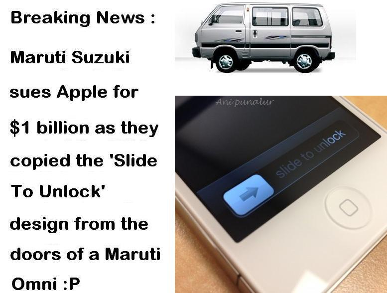 slide to unlock maruti suzuki Funny Memes and cartoons after Apple vs Samsung legal battle verdict
