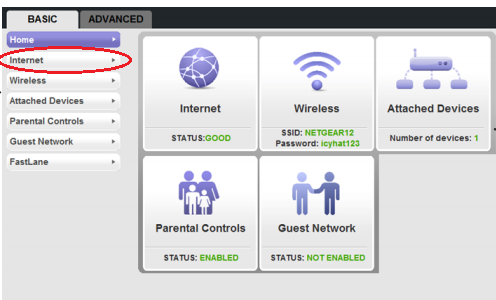 "netgear jnr 1010 wireless n 150 router configuration for bsnl mtnl select the internet tab from the left menu change ""does your internet connection require a login "" settings to ""yes"" as shown"