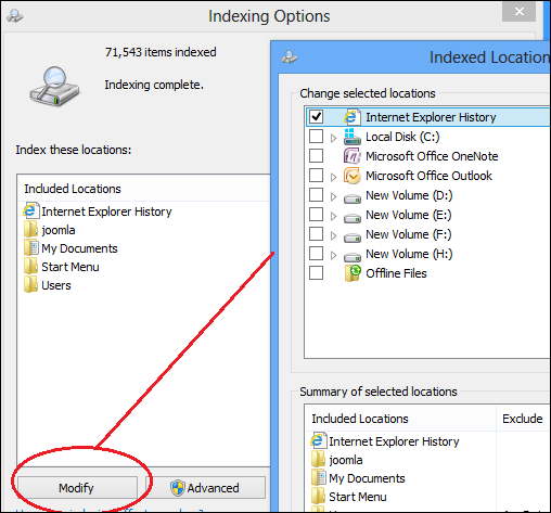 Windows 8 indexing options